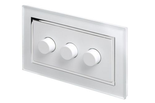 RetroTouch 3 Gang 2 Way Dimmer Switch 3-200W LED & Halogen White Glass CT 02080